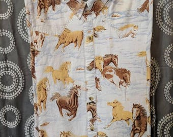 Child's Shirt Front Bib, western style with horses
