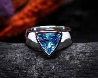 Mens Ring AAA Quality Natural Blue Topaz Gemstone 925 Sterling Silver Partywear Mens Ring