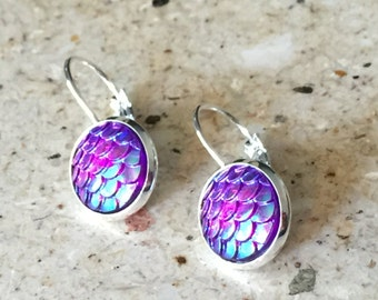 12mm Blue Iridescent  Mermaid French Lever Back Drop Earrings