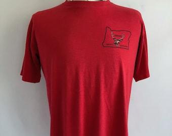 Vintage Herren 80er Jahre T Shirt, rot, Oregon Jäger Association, Kurzarm (L)