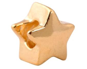 1 Gold Star European Charm 12mm European Beads Fits Charm Bracelets - 9B