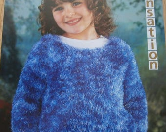 "Original Wendy Knitting Pattern  girls round neck sweater child chest size 22"" - 30 new number 5021"