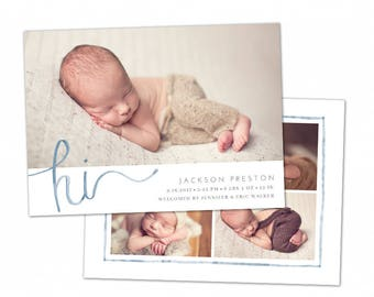 Birth Announcement Template - Baby Newborn Card Photoshop Template for Photographers - Watercolor Welcome CB121 5x7 card - INSTANT DOWNLOAD