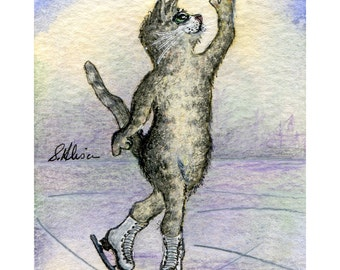 silver tabby cat 8x10 signed art print - ice skating