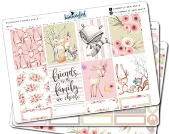 Woodland Friends Mini Kit | MK12 | Planner Stickers for Erin Condren Vertical Planners - Physical Item | The Hummingbird Planner