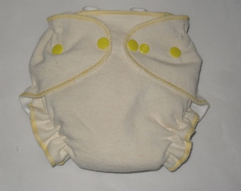 Hemp/Zorb fitted diaper with yellow thread