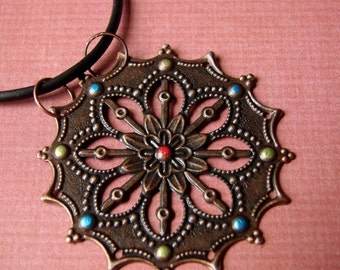 Handpainted Medallion Necklace - Moroccan Delight in Antique Copper