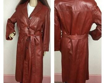 Leather Coat, , 70s spy coat, leather trench coat, Med, long leather coat, burgandy, hippie boho leather coats