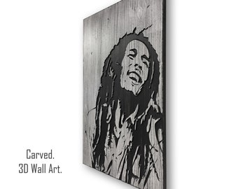 3D, Carved, Bob Marley Wall Art, Musician Art, Celebrity Wall Decor, Wood Wall Art, Reggae Music, Gift for Musician, Marley Print