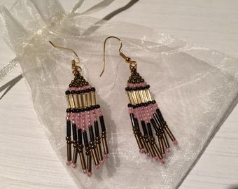 Gold Plated and Beaded Chandelier Earrings, Native American Style, Brick Stitch, Handmade