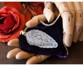 perfume bottle necklace - the sylvan leaf - natural perfume oil trapped in 1/4 oz leaf bottle tethered by brass chain -over 60 aroma options