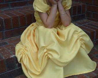 Machine washable satin Yellow Princess Dress or Costume size 3T, 4T, 5, 6, 7, 8, 9, 10, 12