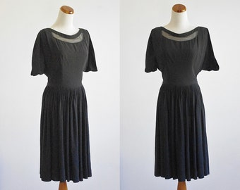 Vintage Black Dress, 50s 60s Cocktail Dress, Illusion Neckline Dress, Sheer Neckline, Little Black Dress, Short Sleeve, Small XS Bust 32 34