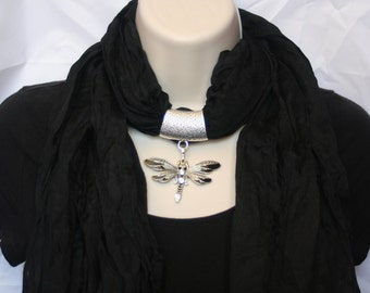 Soft Jeweled Scarf  black with black and silver metal dragonfly pendant