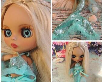 OOAK Blythe-mermaid custom doll repaint