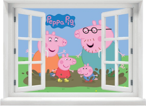 Window with a View Peppa Pig Family Wall Mural