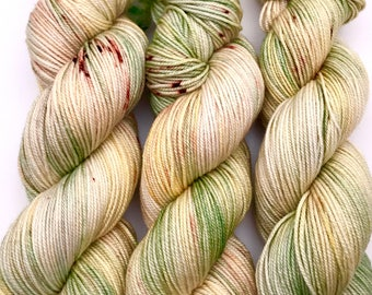"Hand Dyed Yarn ""Hass to be Avocado"" Yellow Green Brown Merino Cashmere Silk Sportweight Yarn SW 300yds"