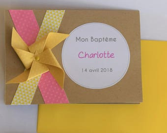 Baptism, communion, Windmill yellow mustard pink kraft invitation