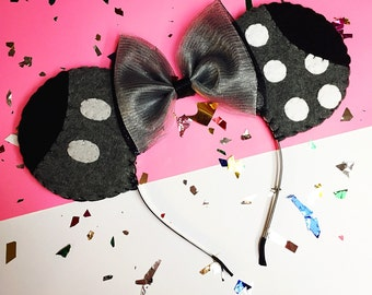 Black and White Classic Minnie and Mickey Mouse Themed Ears Headband with a Glitter Tulle Bow