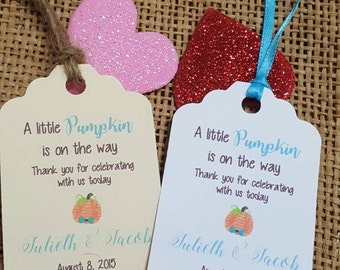 "Personalized Favor Tags 2.5""Lx1.8""w, Baby boy Shower  tags, Thank You tags, pumpkin baby shower, fall baby shower, little pumpkin"