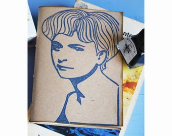 """Handmade notebook with recycled paper, handprinted journal, writers journal, gift for her """"Elsa Morante"""""""