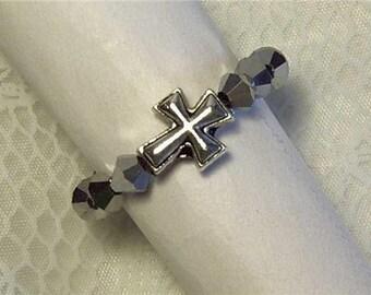 "Cynthia Lynn ""SACRIFICE"" Silver Plated Silver Glass Crystal Beaded Christian Cross Stretch Ring"