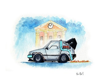 DeLorean Time Machine - Inspired by Back to the Future I Watercolor Print