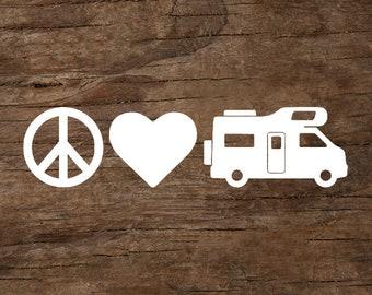 Peace, Love & Camping Camper Van Window Decal