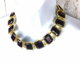 Stunning Dark Blue &Gold statement Necklace adjustable Size