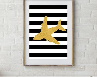 Transport Prints, Plane Prints, Boys Prints, Baby Boys Nursery, Boys Bedroom Decor, Kids Prints, Gold Nursery, Stripes, Navy, Red, Black