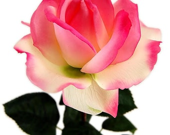 Real Touch Artificial Silk Medium Rose (Pink, Yellow, Red, White)