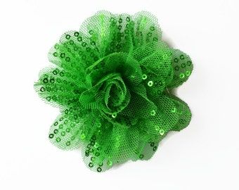 "Sequin and Tulle Flowers. 3.5"" GREEN Sequin Flowers. QTY: 1 Flower ~~ Noelly Collection."