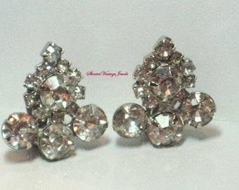 Vintage Old Hollywood Rhinestone Earrings Sparkles like Diamonds 1950s Glamour