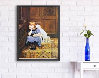 Little Girl & Dog Art,  Little Girl's Room Art, Little Girl's Room Decor, Family Room Art, Living Room Art Print  #570