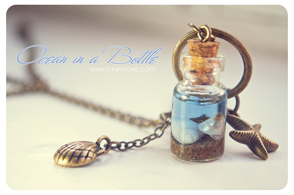 Ocean in a bottle necklacemermaid glass bottle with shells zoom aloadofball Image collections