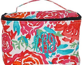 Large Cosmetic Bag | Monogrammed Cosmetic Bag | Personalized Make Up Bag | Bridesmaids Gift | Makeup Organizer | Floral Meadows Cosmetic Bag