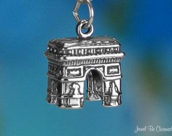 Sterling Silver Arc De Triomphe Charm Landmark Paris France Solid .925