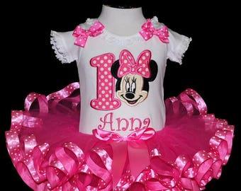 1st birthday girl outfit, tutu outfit, first birthday tutu dress, pink tutu set, minnie mouse birthday tutu set , cake smash outfit,