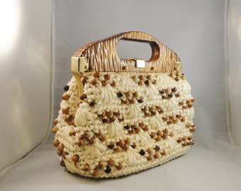 Vintage Handbag 50s 60s Mad Men Era Gaymode Raffia Woven Frame Bag Purse Wooden Handle Brass Metal Made in Italy
