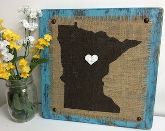 MN, Minnesota, burlap, wood sign, home city, town, heart, star, color option, custom, northern style, rustic look, primitive, STATES, boho