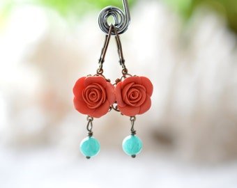 Coral Rose Earrings, Coral Flower Earrings, Spring Summer Earrings, Bridesmaid Earrings, Bridal Jewelry