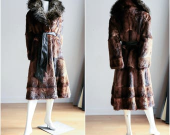 Belted Racoon Coat | Fur Trench Coat  | Vintage Racoon Coat  | Leather and Fur Coat | 70's fur coat | Patchwork Coat | Bohemian Coat |