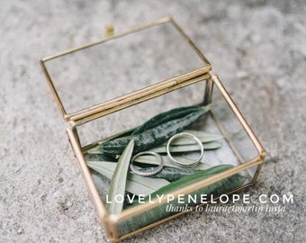 Box for rings metal gold and glass (gift box, box, jewelry box, wedding, ring, wedding ring box)