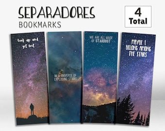 Star bookmarks, galaxy bookmarks, bookmark with stars, printable bookmark, gift idea, marcapáginas, separador de estrellas, punto de libros,