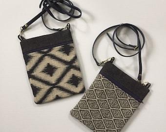 Crossbody bag in Geometric fabric and Denim