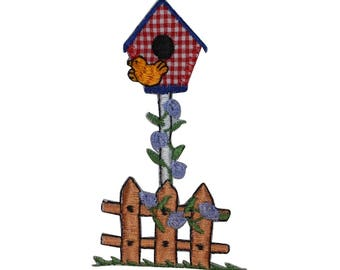 ID 3112 Bird House On Picket Fence Patch Garden Embroidered Iron On Applique