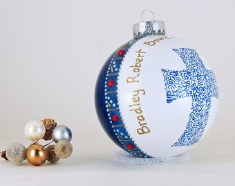 Baptism, Communion, Confirmation ornament - Personalized and customized hand painted glass ornament