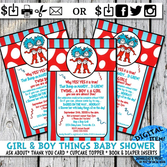 Twins Baby Shower Dr. Seuss Invite