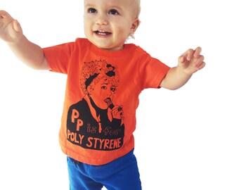 """Feminist Shirt - P is for Poly Styrene w/ 9X12"""" Screen Print // Children's Gift Set"""