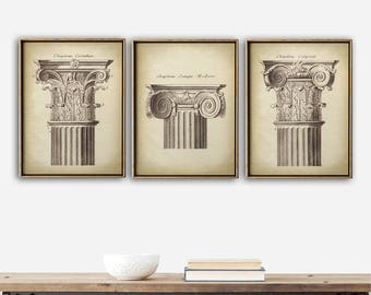 ARCHITECTURE Print SET of 3, Elegant Architecture Chapitel Posters, Classical Architectural Drawing, Antique Architecture Poster